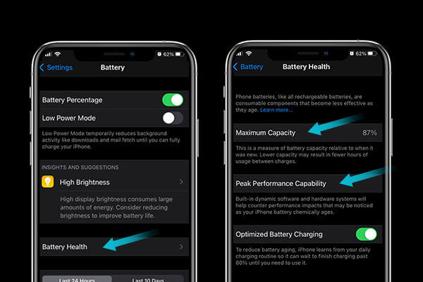 Check battery health to find out why your iphone battery is draining fast