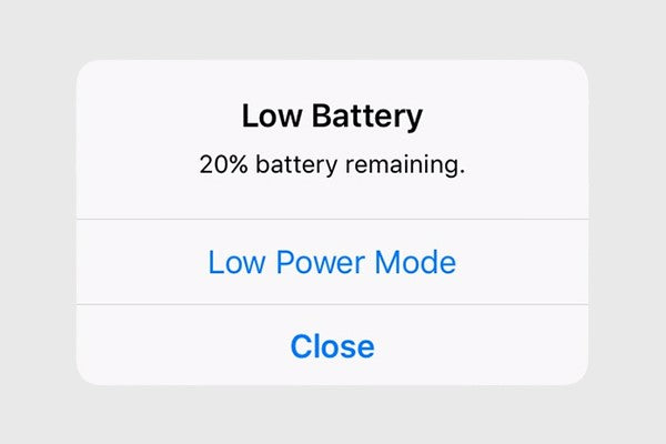 low battery at 20 low battery mode