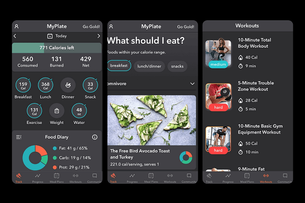 My Plate app for tracking food and weight