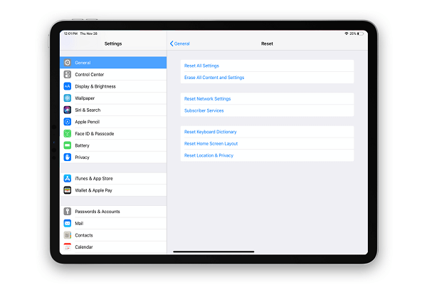 reset or erase all settings if your iPad battery drains fast