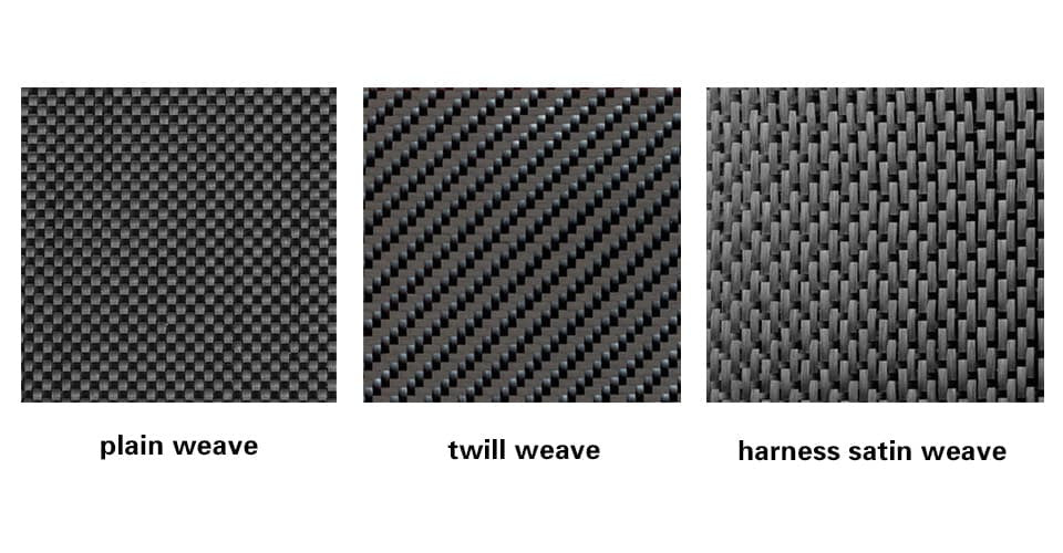 carbon fiber weaves include plain, twill, harness satin