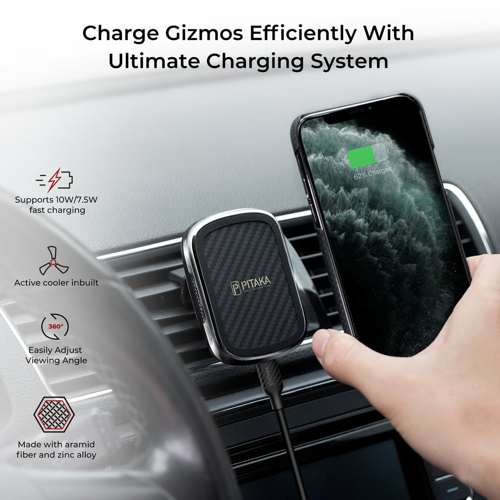 PITAKA in-Car Wireless Charging Kit 3 in 1 Magnetic in-Car Charging Solution Wireless Charging Magnetic Car Mount Compatible with MagEZ Case for iPhone 11 Pro Max