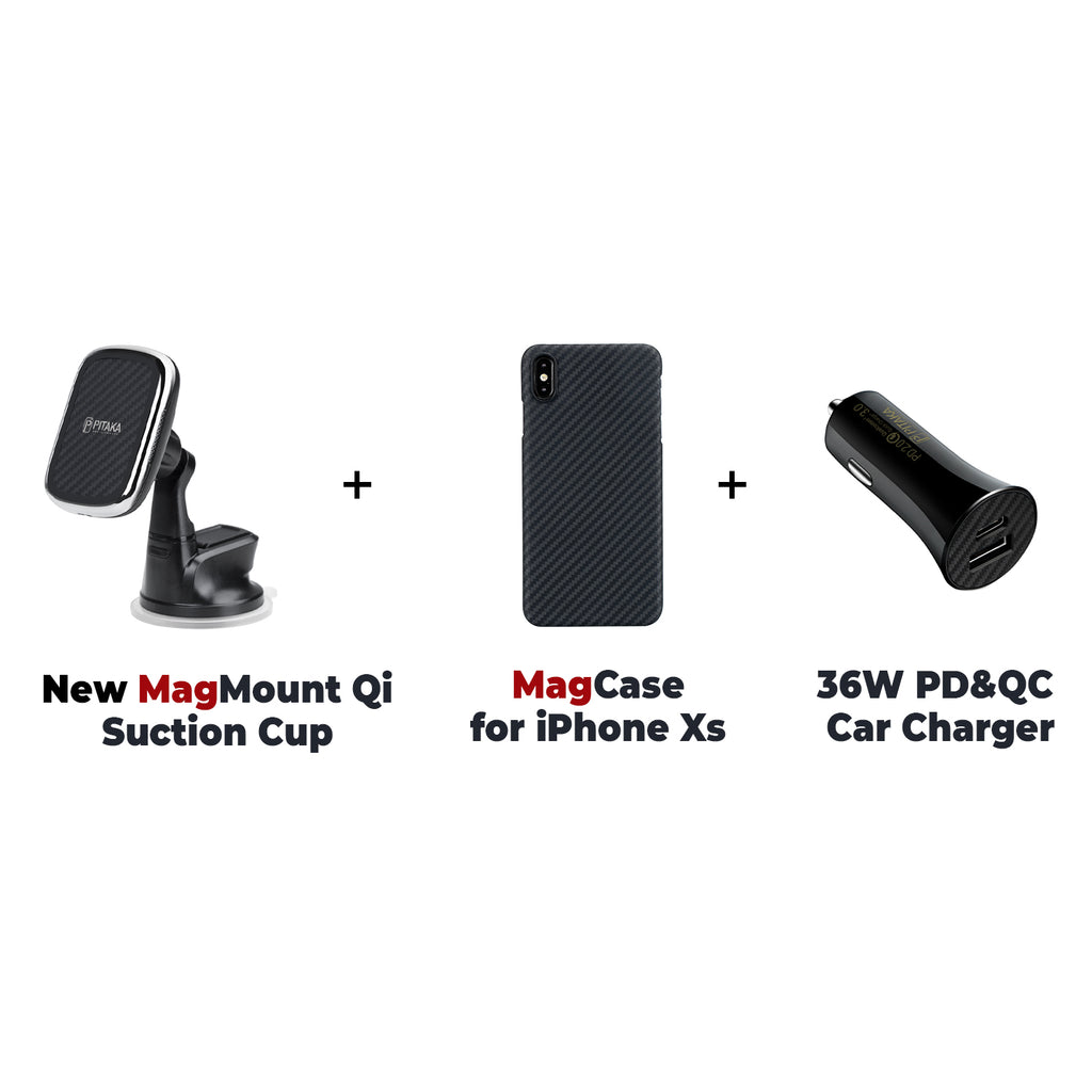 MagEZ Mount Qi + MagEZ Case for iPhone + 36W PD&QC Car Charger