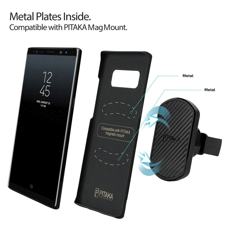 Samsung Galaxy Note8 case with metal plates embedded