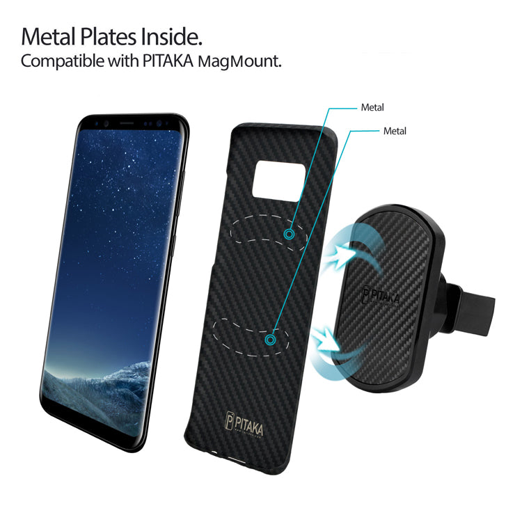 Samsung Galaxy S8 case with metal plates embedded