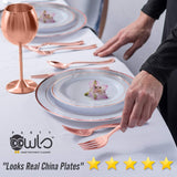 120pcs Eco-Friendly and Extra Strong Rose Gold Plates. Rose Gold Plastic Plates for Baby Showers, Birthdays and Weddings. No Cleanup with Rose Gold Disposable Plates. Re-Usable Rose Gold Party Plates