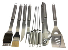 Grill Heat Aid 10pc Stainless Steel Grilling Accessories Set - Complete Tool Kit w/ Scraper, Brush, Meat Knife, Skewers & More - The Outdoor BBQ Master's Choice