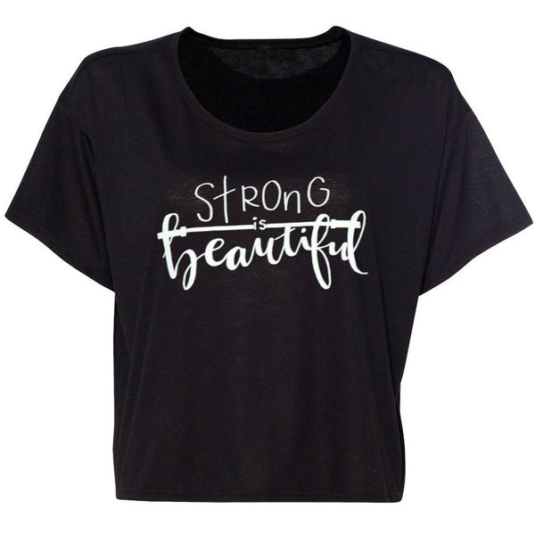 Strong is Beautiful Women Flowy Boxy T-Shirt Black