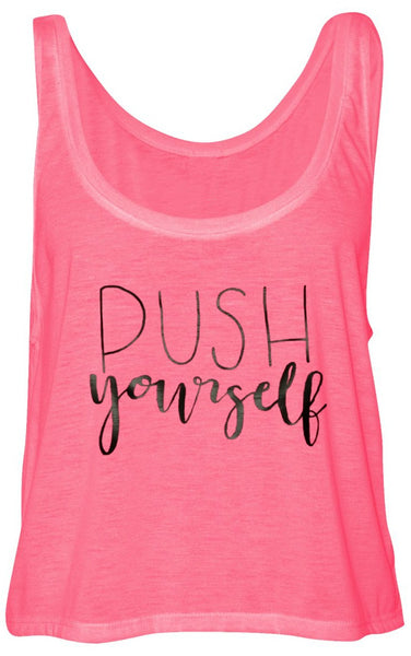 Push Yourself Flowy Boxy Tank Pink