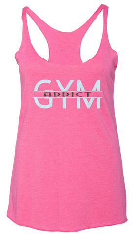 Gym Addict Tank Pink and White