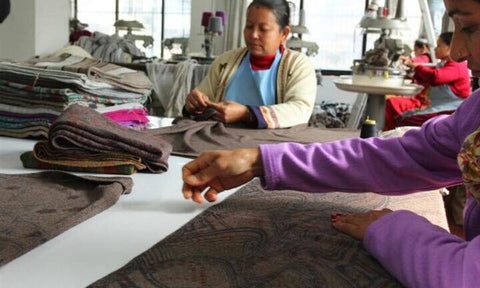 Cashmere ponchos being made in Nepal