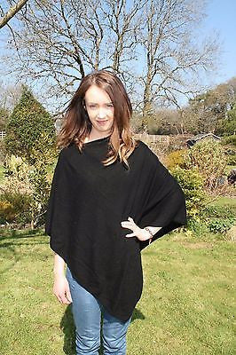 Black cashmere and wool poncho