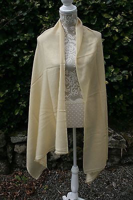 Pale Yellow Cashmere Blend Shawl, Scarf, Stole