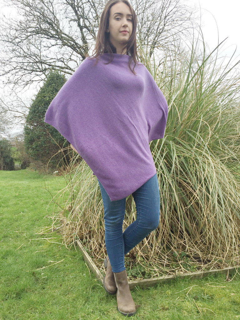 Premium Cashmere Blend Poncho in Lavender Purple, One Size