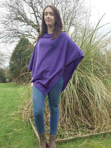 Premium Cashmere Blend Poncho in Indigo Blue, One Size