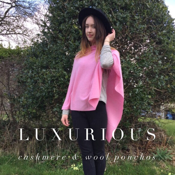 Premium Cashmere Poncho in Rose Pink, One Size Fits All, FREE UK Shipping, Perfect Gift