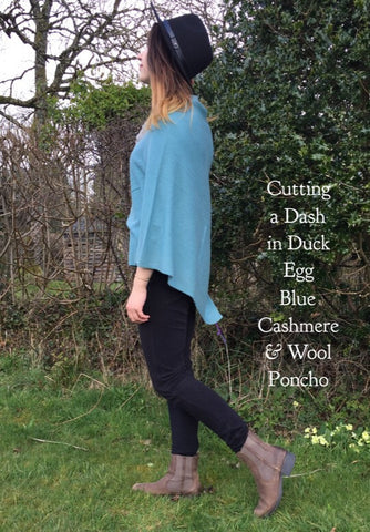 Premium Cashmere Poncho in Duck Egg Blue, One Size Fits All, FREE UK Shipping, Perfect Gift