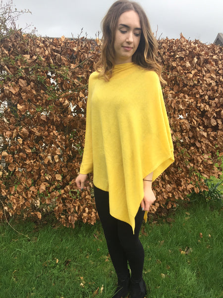Yellow cashmere and wool poncho