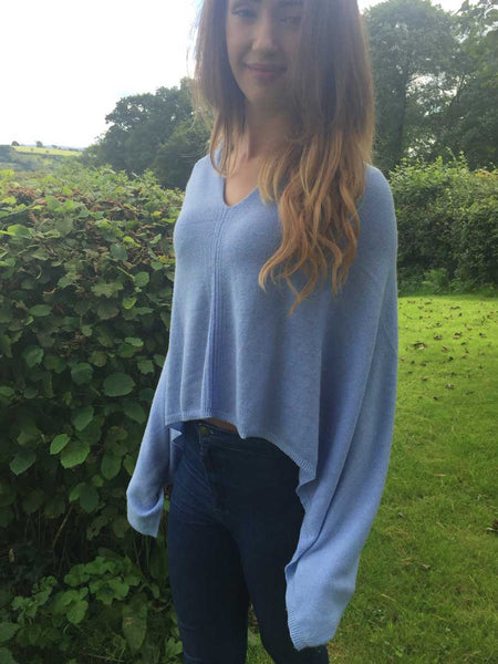 Cashmere & Wool Poncho in Baby Blue