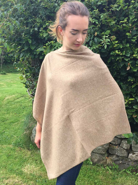 Natural un-dyed beige cashmere poncho
