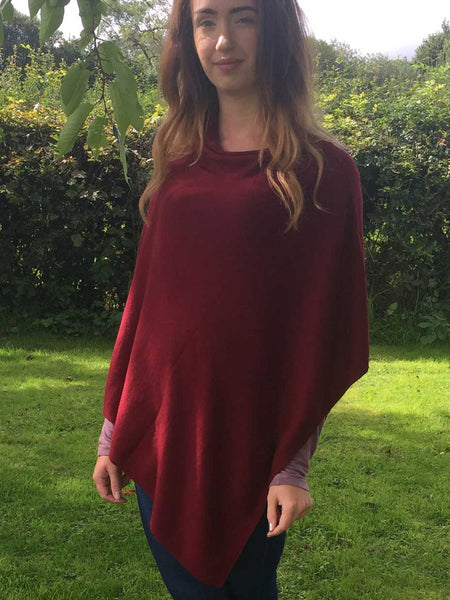 Cashmere & Wool Poncho in Burgundy Red