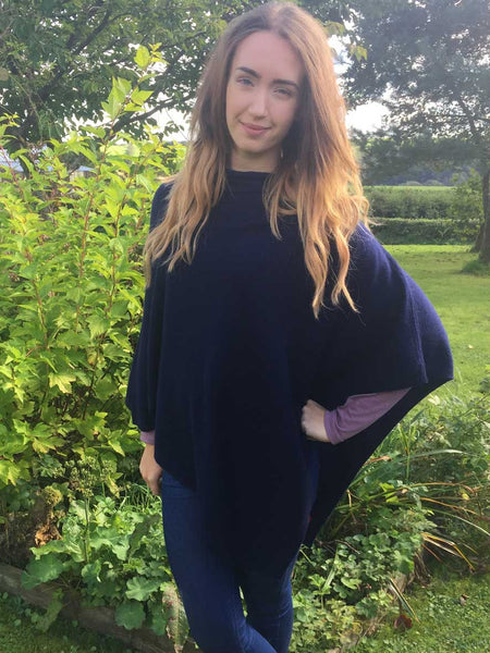 Cashmere & Wool Poncho in Navy Blue