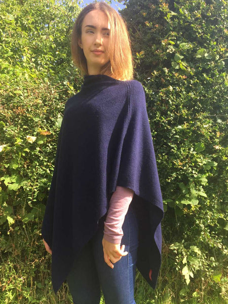 Cashmere Poncho in Navy Blue