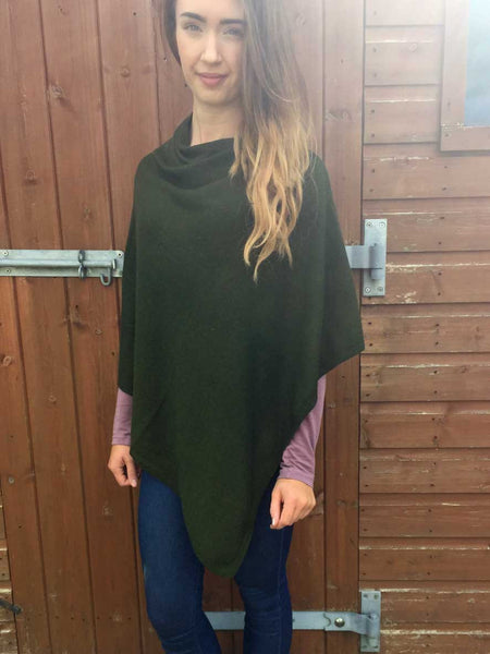 Cashmere & Wool Poncho in Olive Green