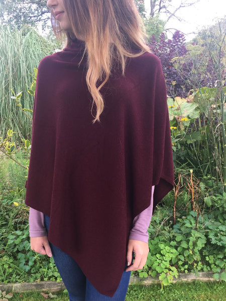 Cashmere & Wool Poncho in Chocolate Brown