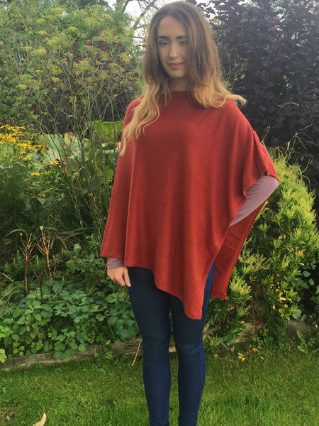 Cashmere & Wool Poncho in Rust