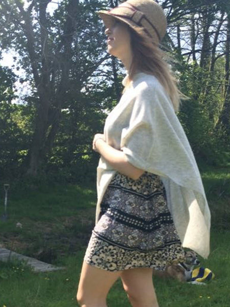 Cashmere & Wool Poncho in Grey