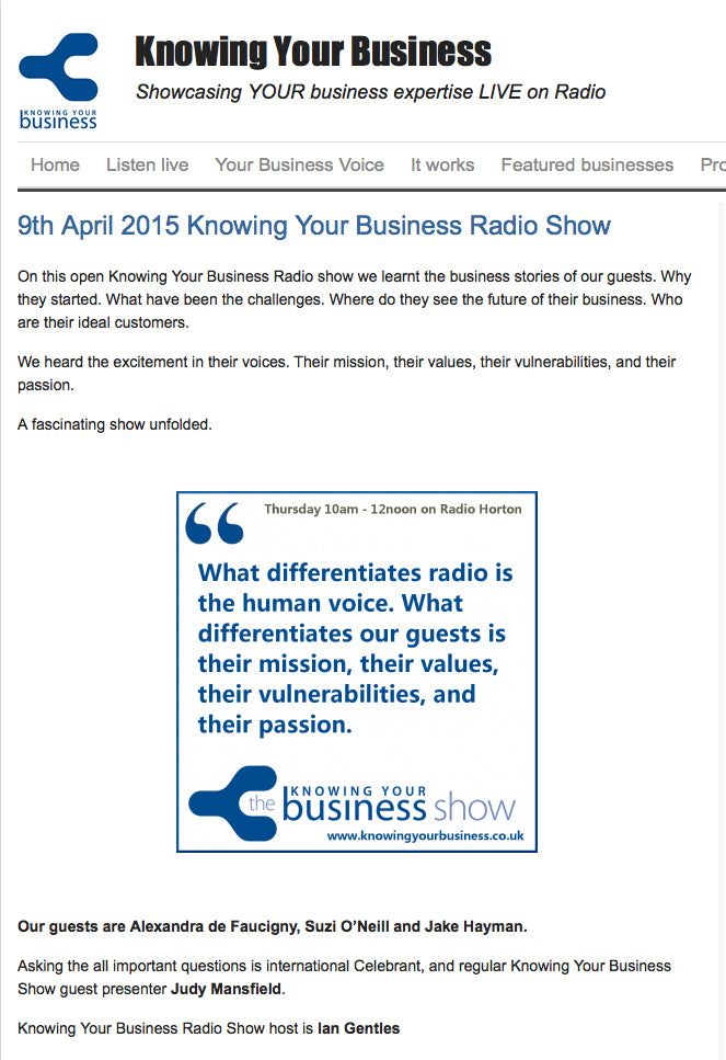 Tendredeal on Knowing Your Business Radio Show