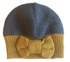 Merino Hat with bow - Navy/Mustard - Tendre Deal - 1