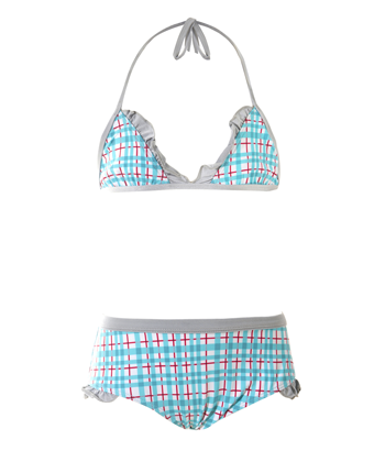 UV50+ swim set with bikini top and shorts - Tartan - Tendre Deal - 1
