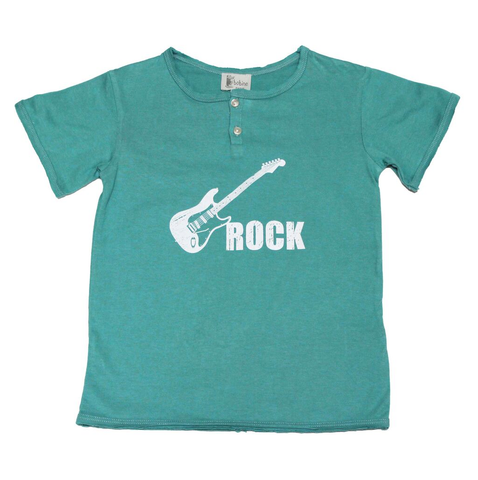 Tunisian T-shirt with Rock'n'Roll print - Green - Tendre Deal