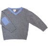 Bi-colour V-Collar Jumper - Grey/Blue - Tendre Deal