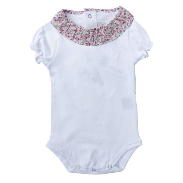 Short sleeve bodysuit with ruffle collar- White - Tendre Deal