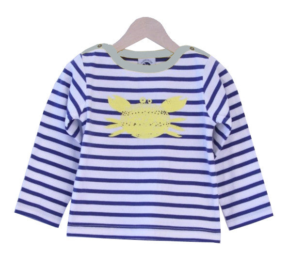 Breton Stripe Top with yellow crab