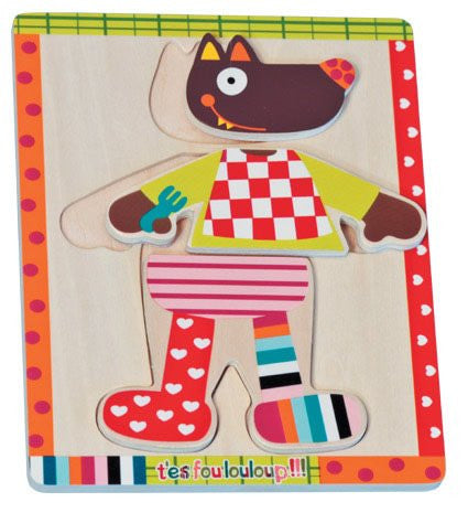 Crazy Cuddly Wolf get dressed Puzzle - Tendre Deal - 1