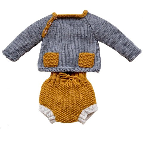 Hand-knitted Twin set - Grey and Gold