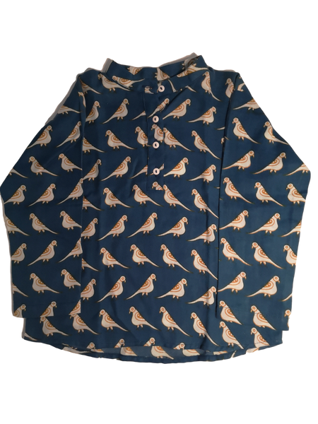 Bird Kurta Shirt Blue