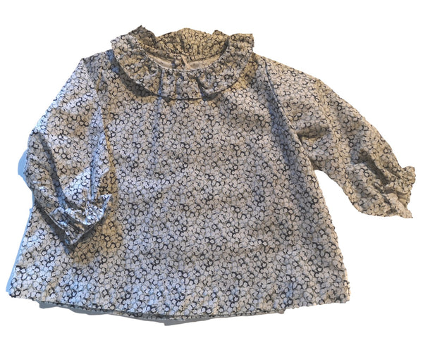 Lisa Blouse - green/blue daisy flowers