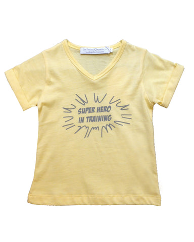 "V-collar T-shirt ""Super Hero in training"" - Tendre Deal"