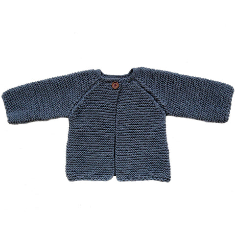 Hand-knitted Cardigan - Anthracite Blue