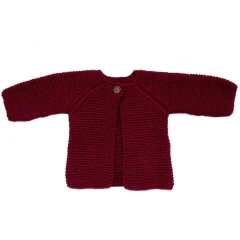 Hand-knitted Cardigan - Burgundy