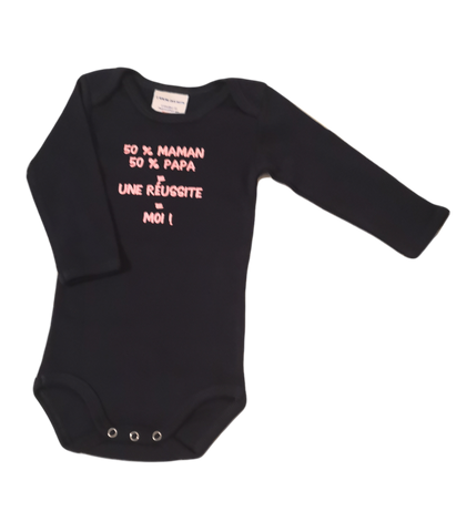 "Dark Blue long sleeve organic bodysuit ""Maman Papa"""