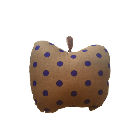 Mini Apple Cushion - Brown with Purple Dots - Tendre Deal