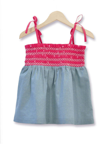 Mini dots Blouse with raspberry smock