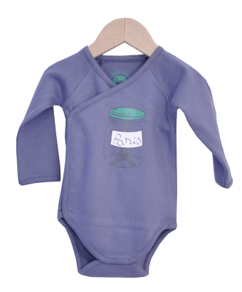 Blue Bodysuit with Paris in a bottle print - Tendre Deal - 1