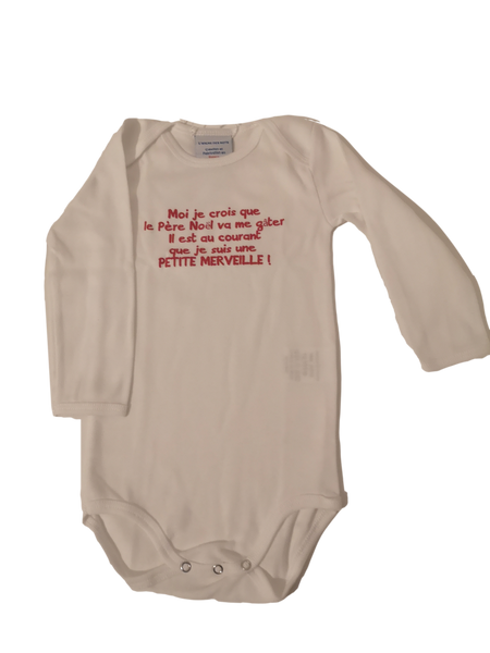 "White long sleeve organic bodysuit ""Pere Noel"""